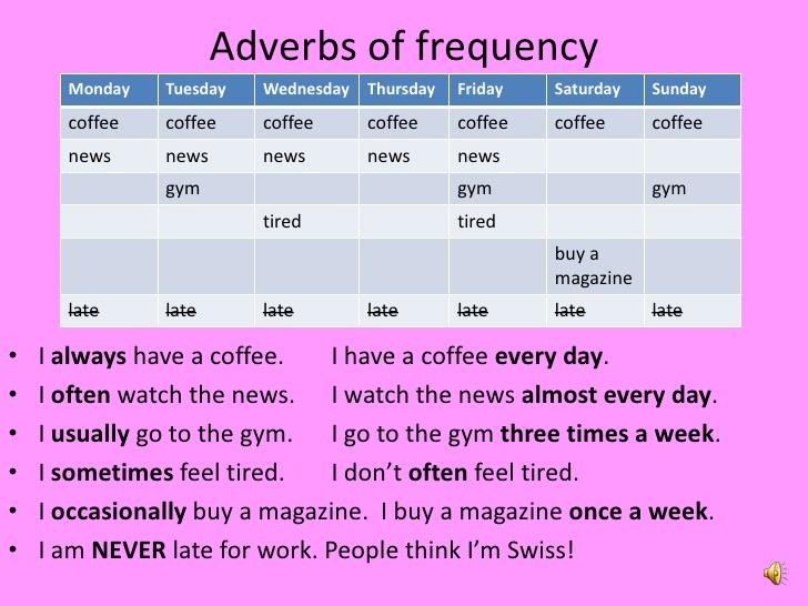 Наречия частоты в английском. Место в предложении