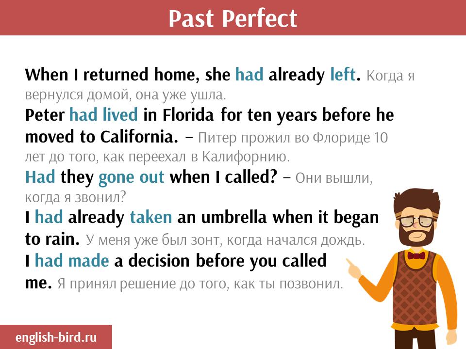 Примеры употребления Past Perfect
