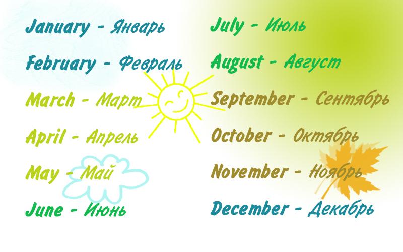 Название месяцев на английском языке с переводом на русский