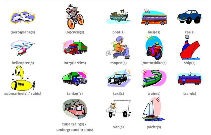 виды транспорта на английском