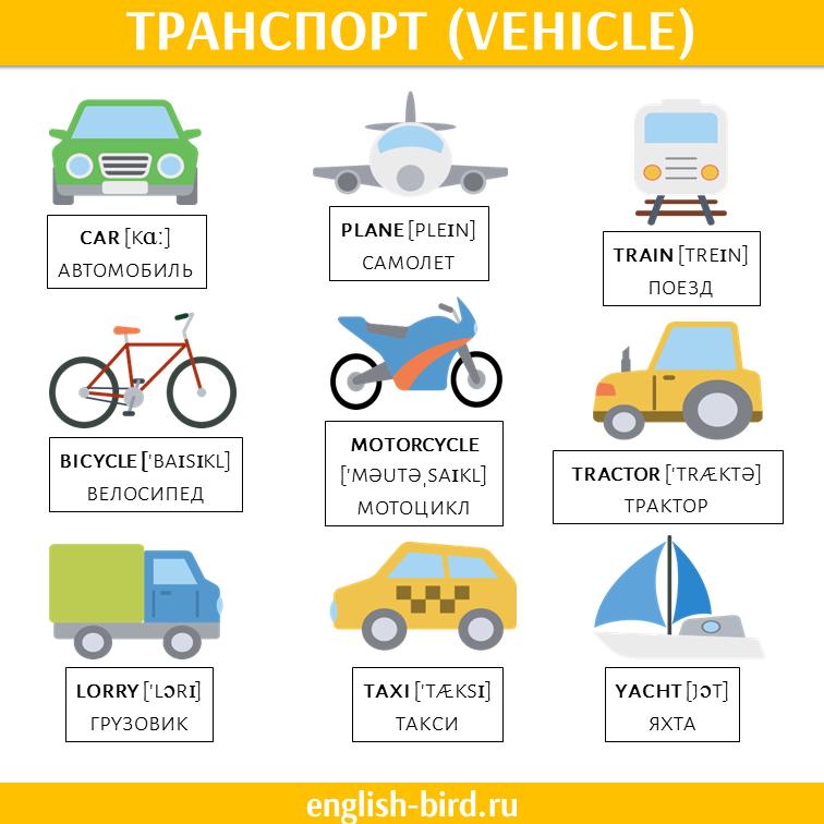 Основные виды транспорта на английском