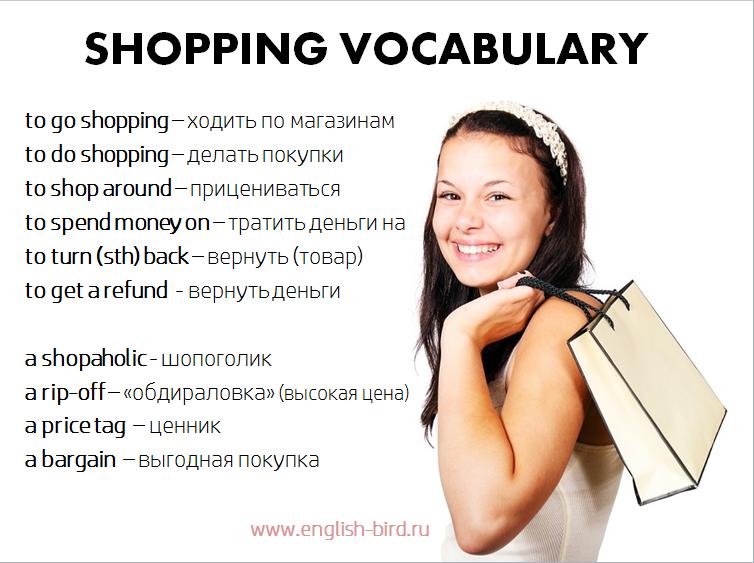 Слова по теме шоппинг на английском