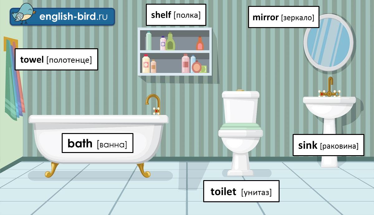 Мебель и оборудование ванной комнаты на английском языке