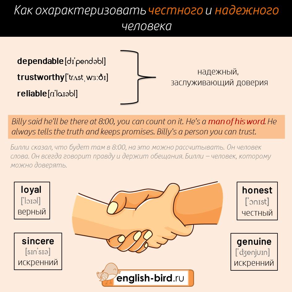 Описание надежного и честного человека на английском языке