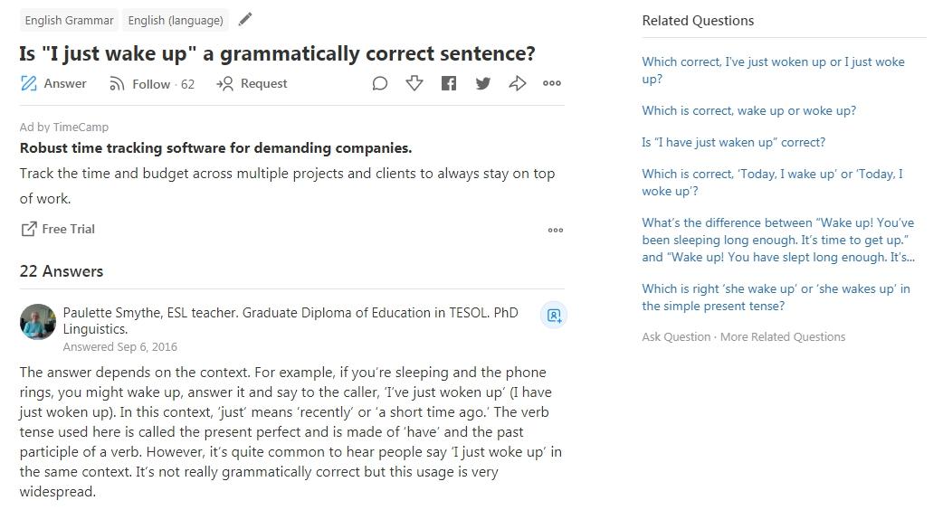 Вопрос о грамматике на Quora