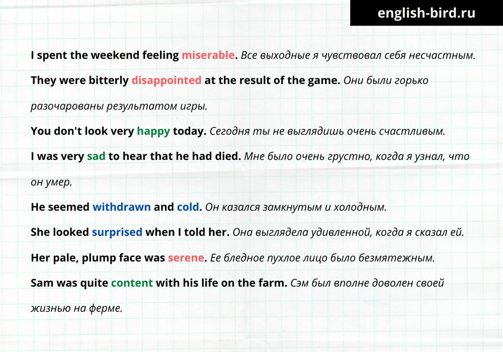 Чувства на английском языке: примеры предложений