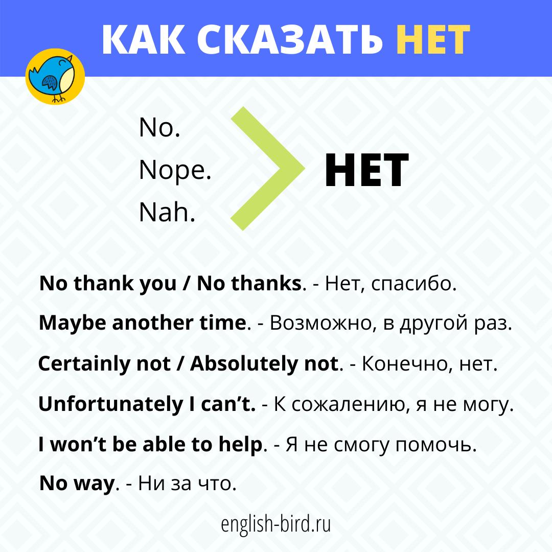 Как сказать нет на английском языке разными способами